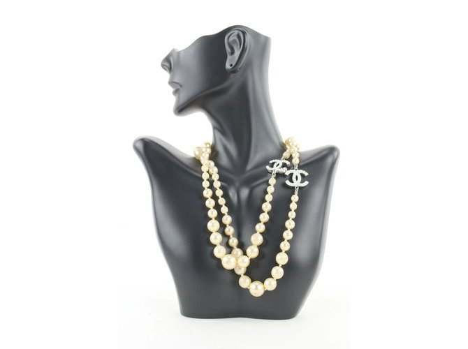 Chanel 08v CC Pearl Necklace Silver  ref.307840