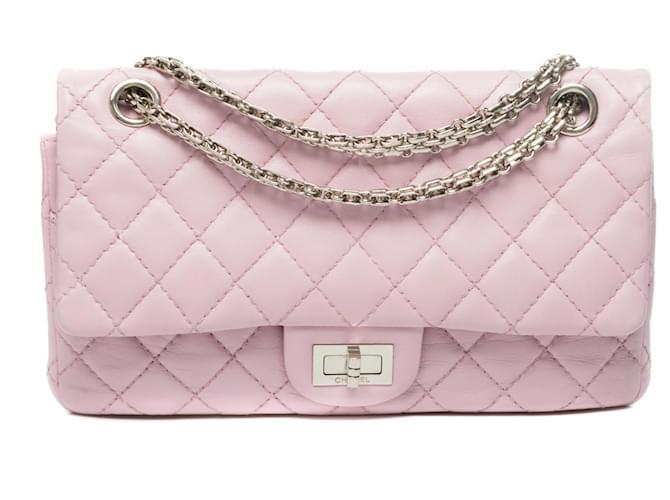 Chanel Splendid Chanel bag 2.55 in old pink quilted leather, Garniture en métal argenté Handbags Leather Pink ref.308524