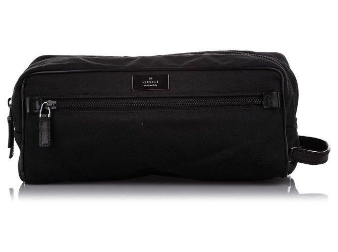 Gucci Black Nylon Pouch Leather Pony-style calfskin Cloth  ref.308702