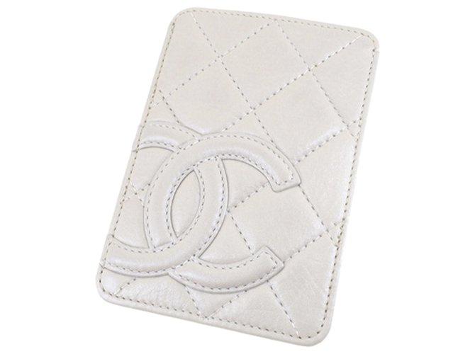 Chanel White Cambon Ligne Card Holder Cream Leather  ref.308784