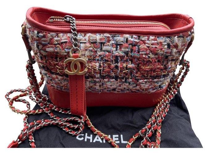 Chanel Gabrielle Dark red Tweed  ref.310641