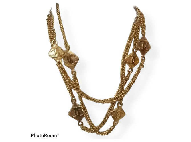Coco Crush Chanel CC motif long belt necklace Gold hardware Gold-plated  ref.311093