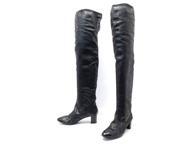 NEW CHANEL BOOTS SHOES 39 BLACK PYTHON LEATHER BOOTS Exotic leather  ref.311301
