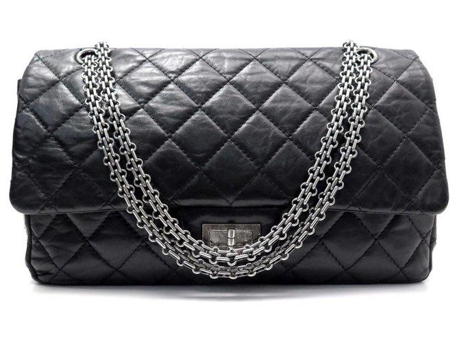 Chanel handbag 2.55 MAXI JUMBO A37590 BLACK LEATHER STRAP + BOX  ref.311317