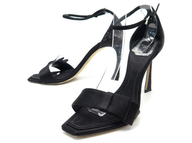 Christian Dior NEW DIOR SHOES SANDALS WITH STRASS HEEL 38.5 IN BLACK SATIN BOX SHOES  ref.311359