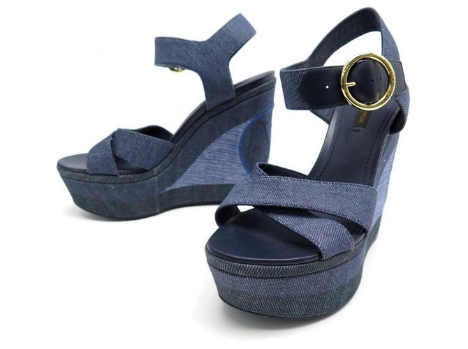 NEW LOUIS VUITTON SHORE WEDGE SANDALS 36.5 CANVAS DENIM SANDALS Blue Cloth  ref.312018
