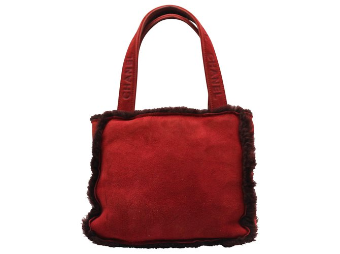 Chanel SUEDED LEATHER HAND BAG Red  ref.312119
