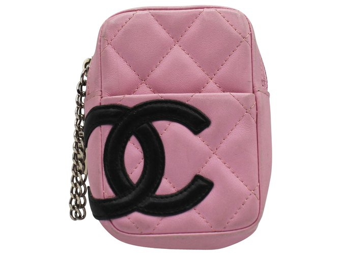 Chanel POUCH CAMBON Pink Leather  ref.312137