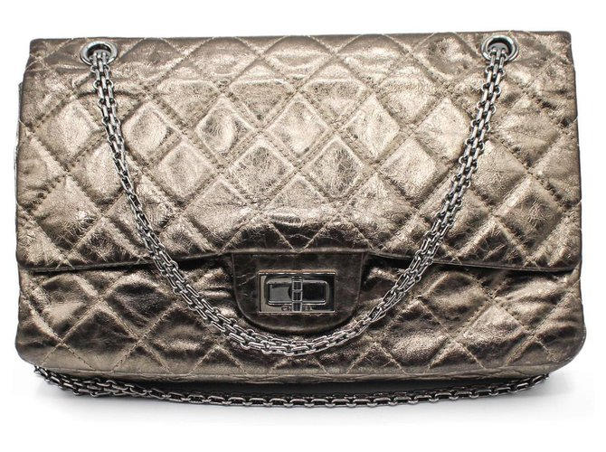 Chanel 2.55 Aged Golden Leather Metallic Patent leather  ref.312161