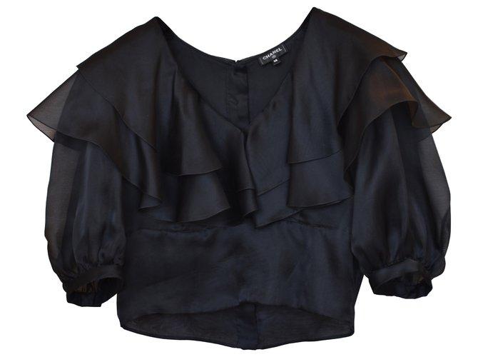 Chanel Rare SS 2020 silk top blouse Black  ref.312199