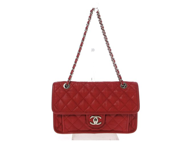Chanel Classic Flap Red Leather  ref.312254