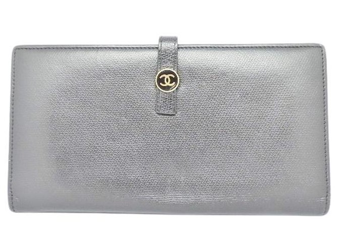 Chanel wallet Silvery Leather  ref.312365