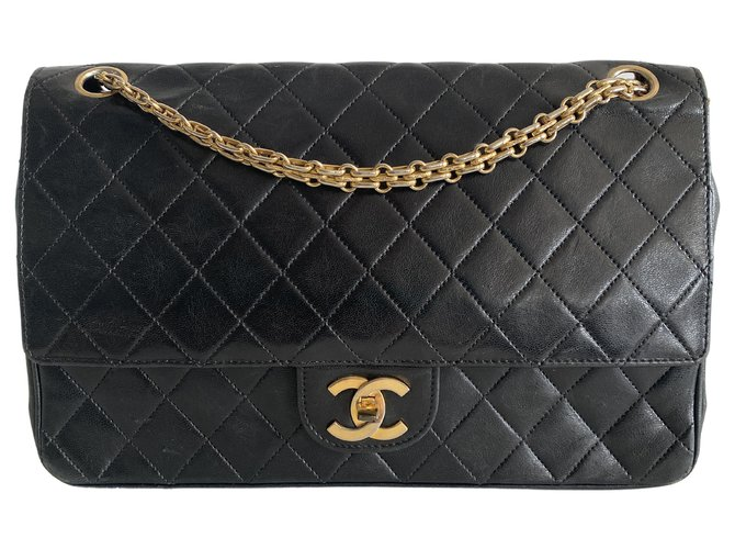Chanel Classic Flap Black Leather  ref.312428