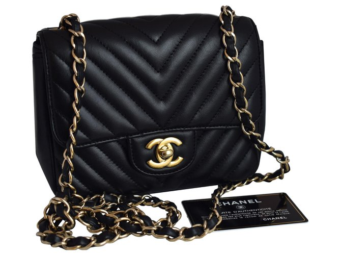 Chanel Timeless Classic Square Mini Black Chevron Flap Bag Leather  ref.312489
