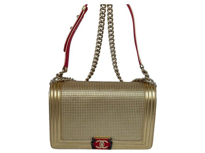 Chanel cube boy bag Golden Lambskin  ref.312651