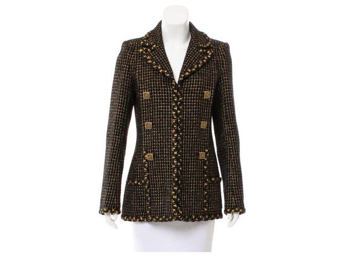 Chanel 9,5K$ Jewel Buttons Tweed Jacket Black  ref.313307