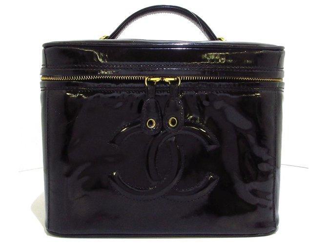 Chanel Vanity Black Patent leather  ref.313440