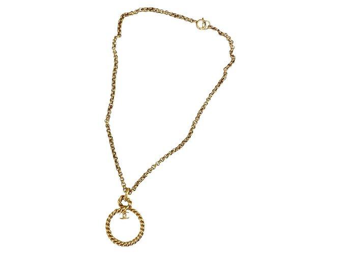 Chanel vintage long necklace 1995 Gold hardware Metal  ref.313615