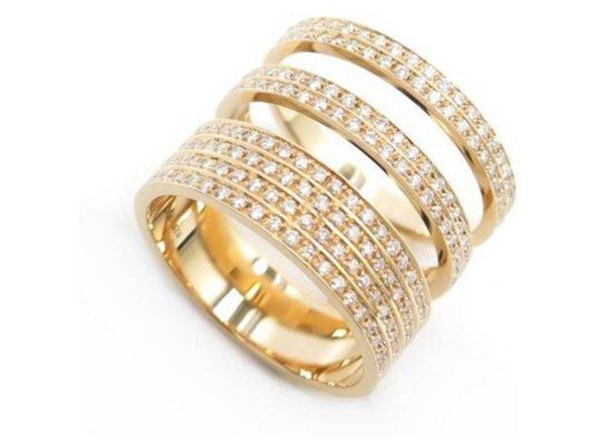 RING REPOSSI BERBERE MODULE 3 ROWS DIAMONDS & ROSE GOLD 18k t54 RING Golden Pink gold  ref.314078
