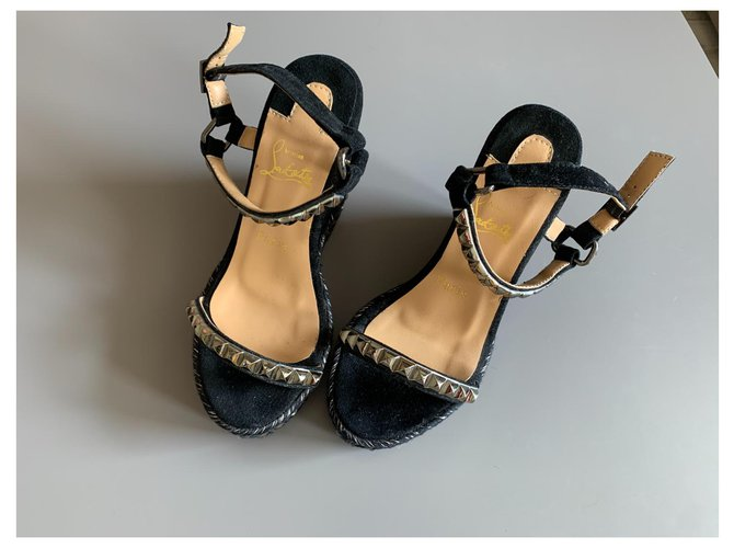 Christian Louboutin Louboutin wedge sandals Black Deerskin  ref.314227