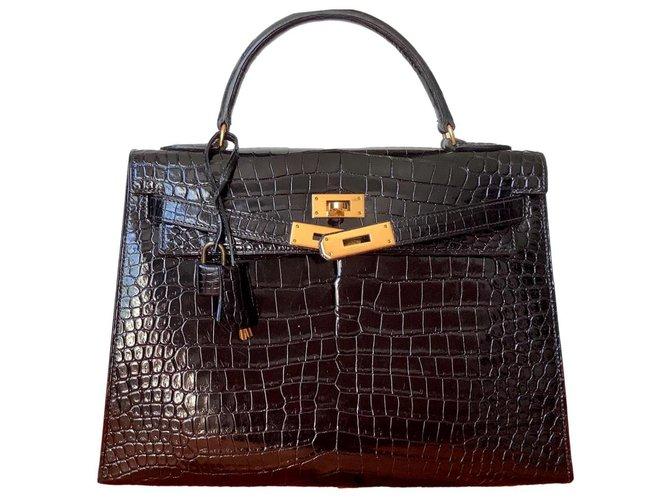 Hermès Kelly32 Black Exotic leather  ref.314405