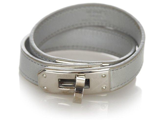 Hermès Hermes Gray Kelly Bangle Silvery Grey Leather Metal Pony-style calfskin  ref.316031