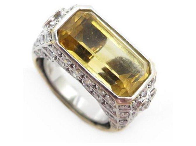 RING REPOSSI SIGNET T50 yellow gold 18K CITRINE & DIAMONDS GOLD DIAMONDS RING Golden  ref.316493