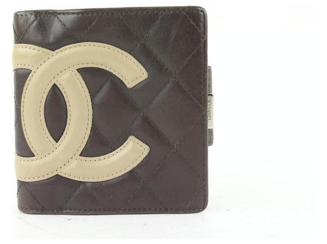 Chanel Brown Quilted Cambon Ligne Compact Wallet Leather  ref.318990