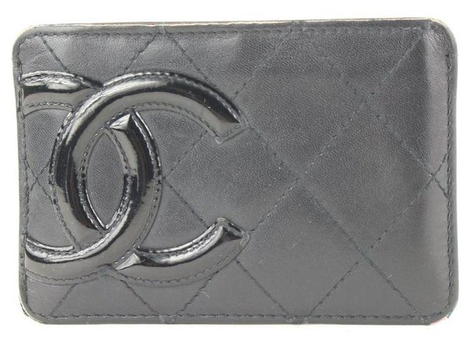 Chanel Black Quilted Cambon Ligne Card Holder Wallet Case Leather  ref.318992