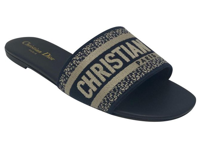 Christian Dior Dway sandali Dior Blue Leather  ref.321591