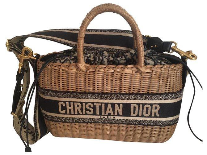 Dior wicker basket bag Blue  ref.323185