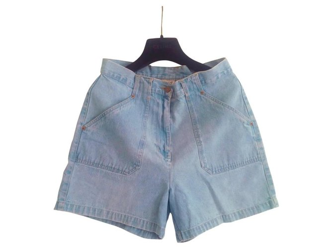 High-waisted Vintage Bill Blass retro shorts in light blue denim. In perfect condition. Cotton  ref.323234