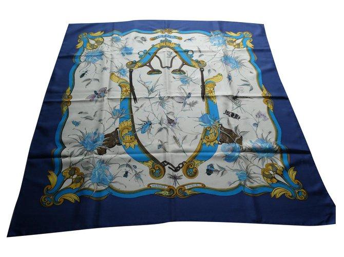 Hermès vintage ingrid square in excellent condition Blue Silk  ref.323241