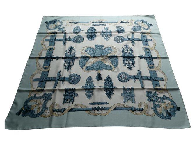 Hermès square ironwork excellent condition Blue Silk  ref.323243