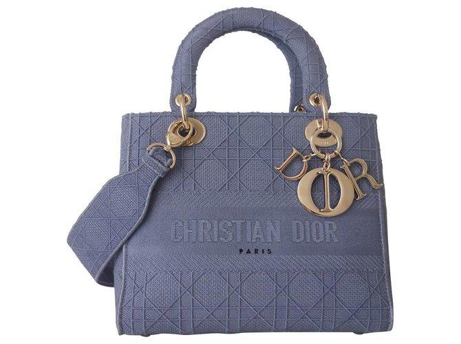 Lady Dior D'lite medium bag Blue Cloth  ref.323416