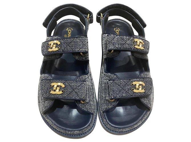 Chanel Dad Sandals Grey Velvet  ref.323542
