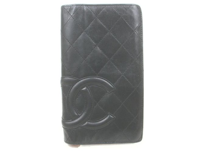 Chanel Black Cambon Leather Bifold Yen Long Flap Wallet  ref.326194