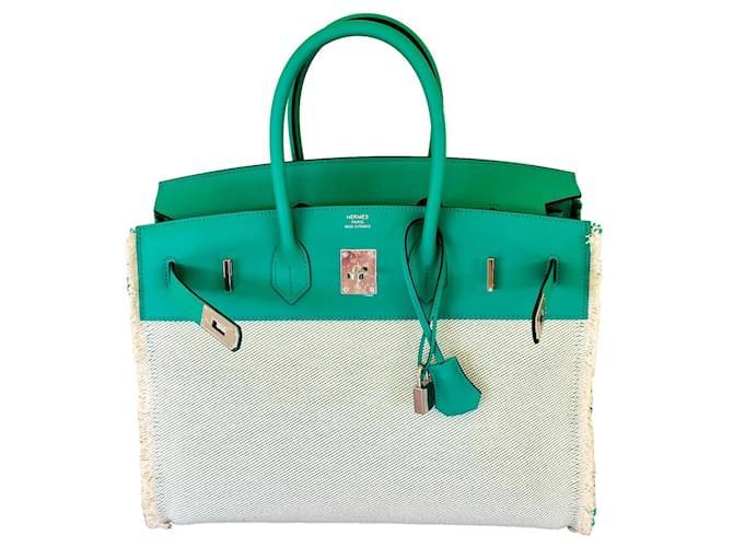 Hermès Birkin Fray Fray 35 cm Mint Green Cream Leather Cloth  ref.331868