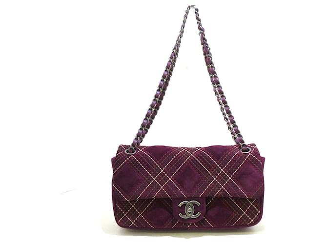 Chanel Classic Flap Purple Suede  ref.333901