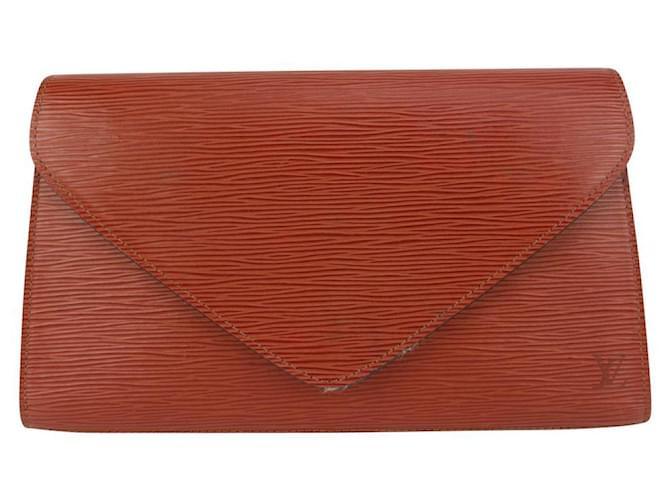 Louis Vuitton Brown Epi Leather Pochette Art Deco Envelope Clutch Bag  ref.340028