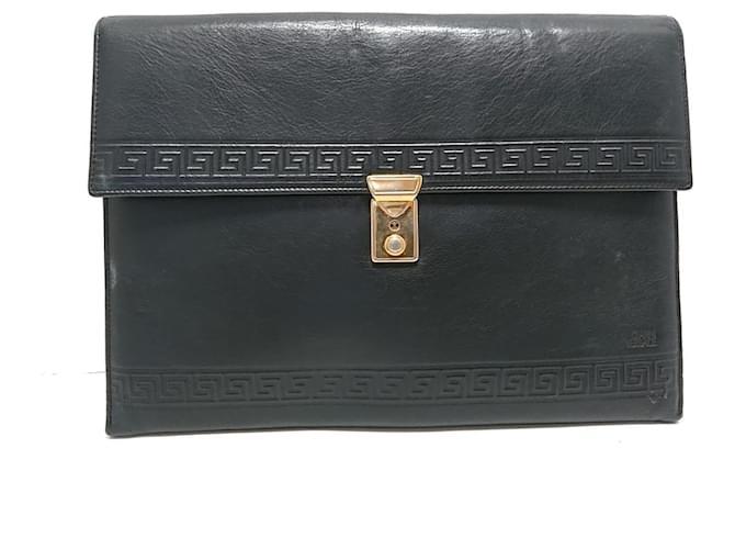 Versace Clutch bag Black Leather  ref.351585