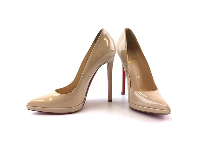 Christian Louboutin Nude Patent Leather Pumps Beige  ref.351676