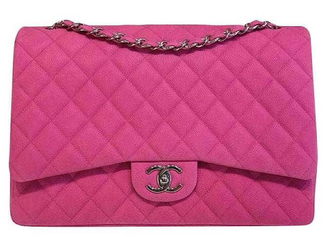 Chanel Pink Suede Timeless Classic Maxi flap bag  ref.352082
