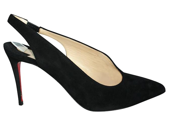 Christian Louboutin Rivafish Black Suede Heels Leather  ref.352468