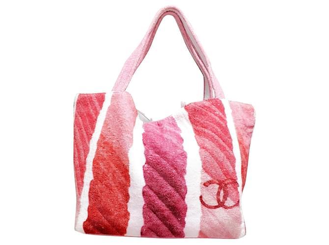 Chanel shopper bag Pink White Fuschia Cotton  ref.352980