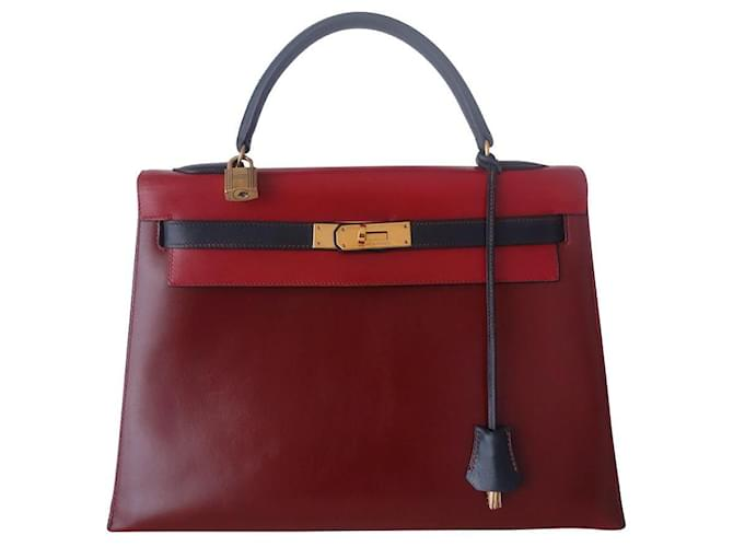 Hermès Hermes Kelly bag 32 tricolor Red Dark red Navy blue Leather  ref.353012