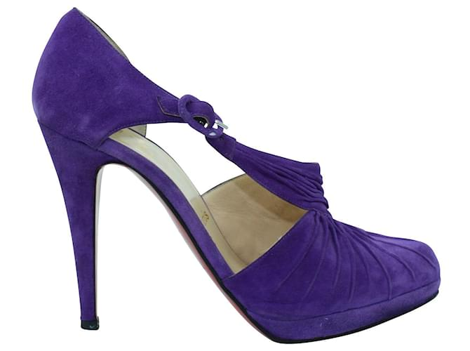Christian Louboutin Purple Suede Sandals Leather  ref.353784