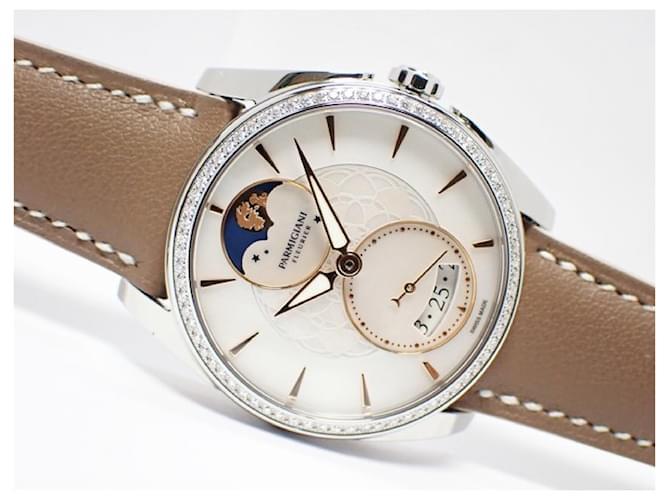 Hermès Hermes Parmigiani Fleurier Tonda Metropolitaine Selene Genuine goods Mens White Steel  ref.354415