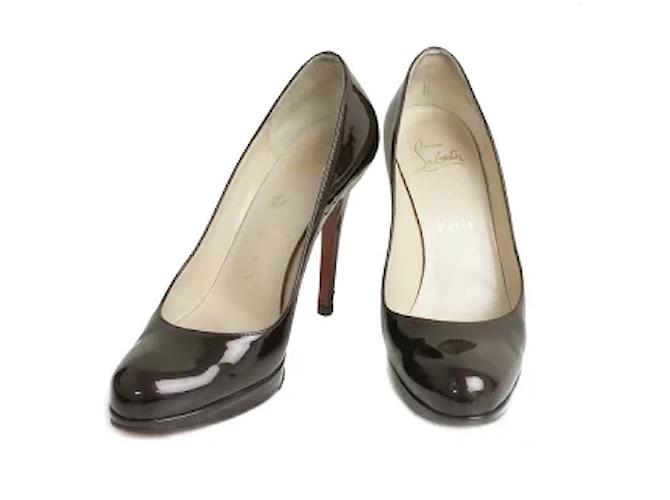 [Used] Christian Louboutin Patent Leather Round Toe Pumps 36 1/2 dark purple Red  ref.354862