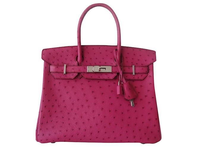 Hermès HERMES BIRKIN BAG 30 Ostrich Pink Ostrich leather  ref.355878